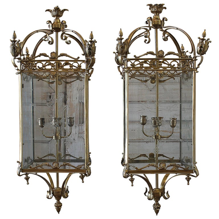 Pair of English Gilt Bronze Lantern Lights with Etched Glass For Sale