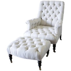 21st Century Napoleon Style Chair and Ottoman