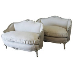 Pair of 20th Century Antique Painted Louis XV Style Settees