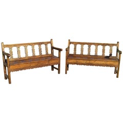 Matched Pair of 18th Century Pine and Elm Pyrenees Benches