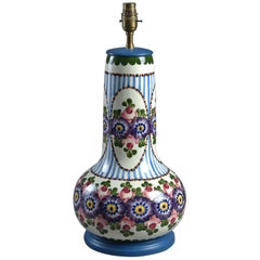 Early 20th Century, Floral and Striped Vase Lamp