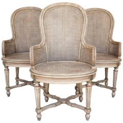 Three Vintage Louis XVI Style Tall Caned Armchairs