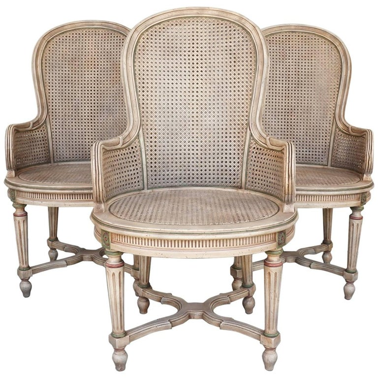 Three Vintage Louis XVI Style Tall Caned Armchairs For Sale