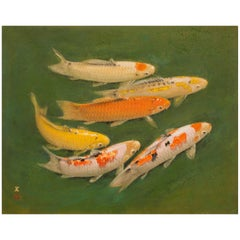 Japanese Single Panel Painting of Swimming Carp
