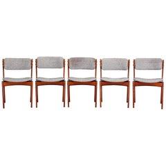 Set of Five Model 49 Teak Dining Chairs by Erik Buch for Oddense Maskinsinedkeri
