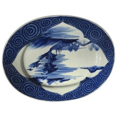 Japan Antique Hand-Painted Blue Oval Charger Lake, Boats and Mountains