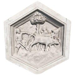 Gorgeous Plaster Six-Sided Bas Relief Sculpture