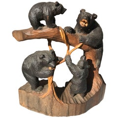 Bear Family Climbing Tree, Old Japan Handcrafted Sculpture, Mint and Signed