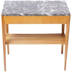 Swedish 1950s Marble-Top Side Table
