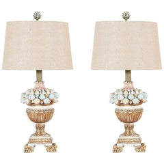 Pair of 1960s Italian Painted and Parcel Giltwood Lamps