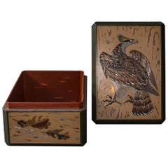 Japanese Lacquer Letter Box with Hawk Design