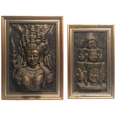 Pair of Custom Framed Cambodian Temple Carving Impressions