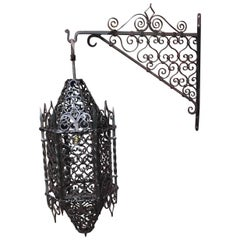 Large Moorish Style Hand crafted Wrought Iron Porch Lantern Wall Pendant Light