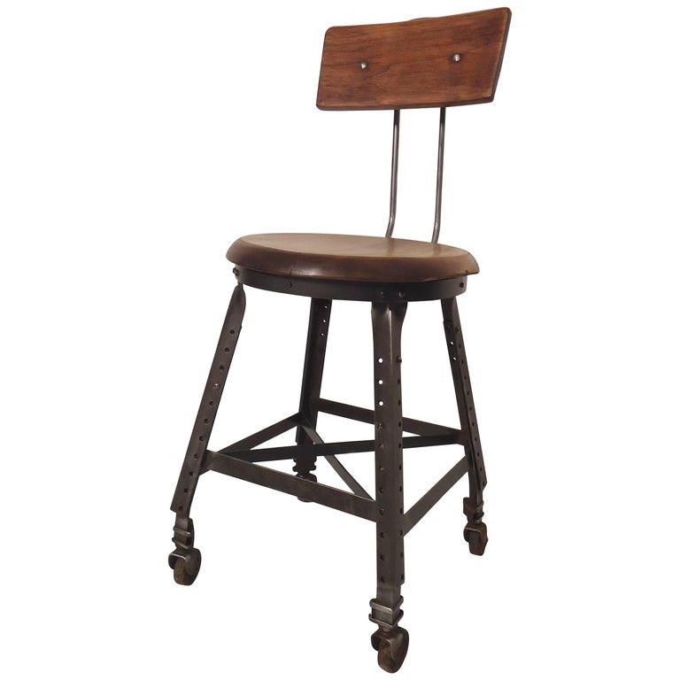Petite Vintage Factory Stool For Sale At 1stdibs