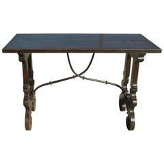 Late 17th-Early 18th Century Walnut Lyre Leg Table with Iron Stretchers