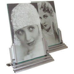 Pair of French Art Deco Chrome Ziguratt Stepped and Angled Photo Frames