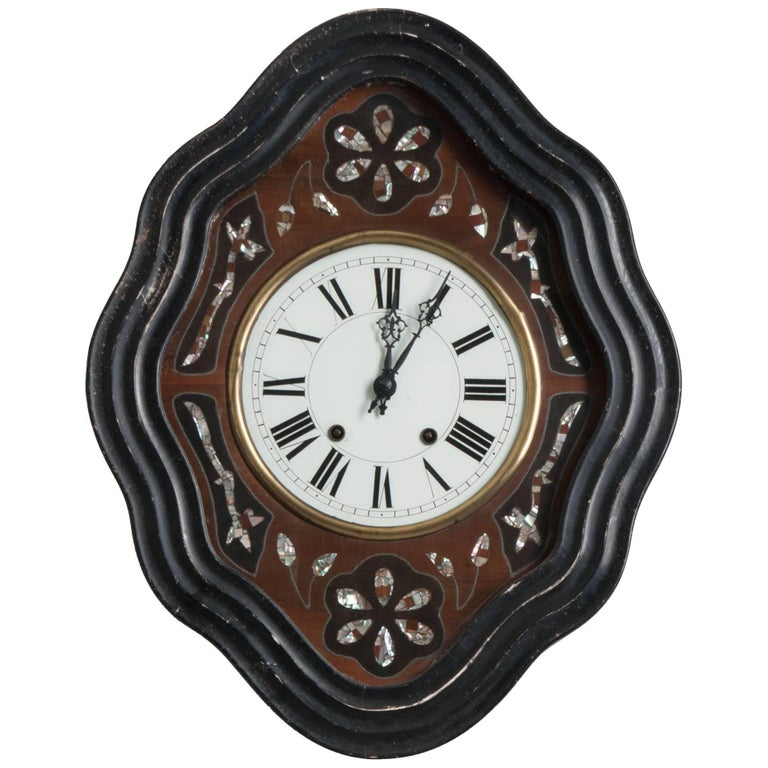 French 19th Century Napoleon III Mother-of-Pearl Inlay Wall Clock