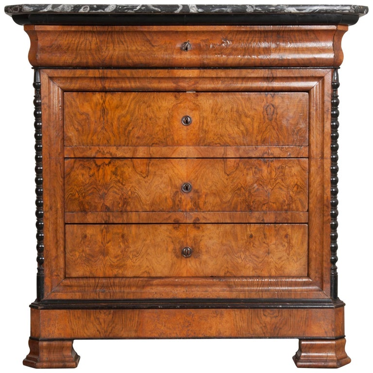French 19th Century Louis Philippe Burl Walnut Commode with Marble Top