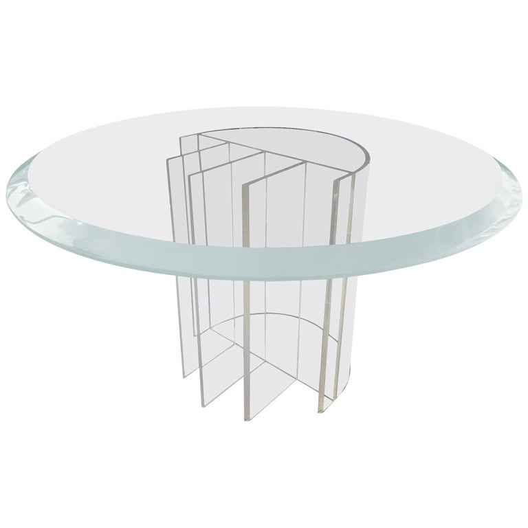 """Lucite Dining Table by Charles Hollis Jones, """"Blade"""" Line"""