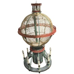 Whimsical and Fun Six-Arm Chandelier in the Form of a Hot Air Balloon / Birdcage
