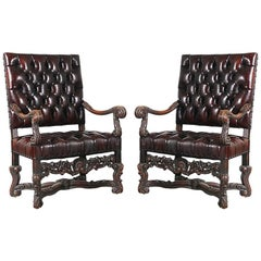 1930s, Italian Baroque-Style Leather Armchairs, a Pair
