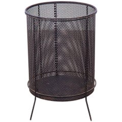 Vintage Black Mesh Steel Wastebasket in Style of Richard Galef