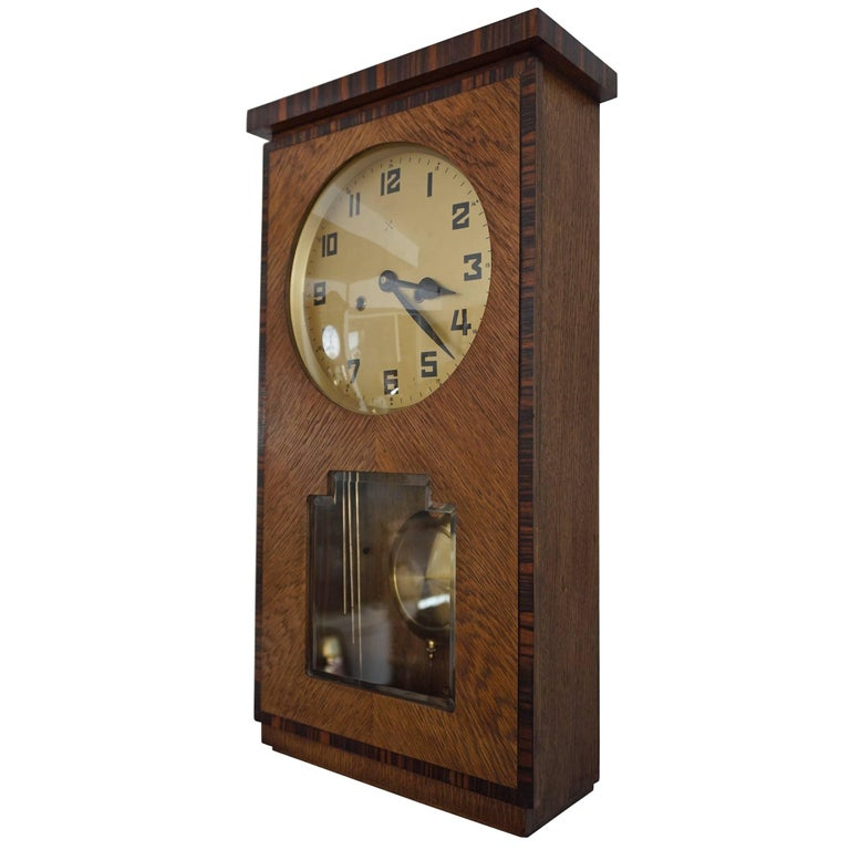 Rare Art Deco Amsterdam School Geometrical Design Oak and Macassar Wall Clock