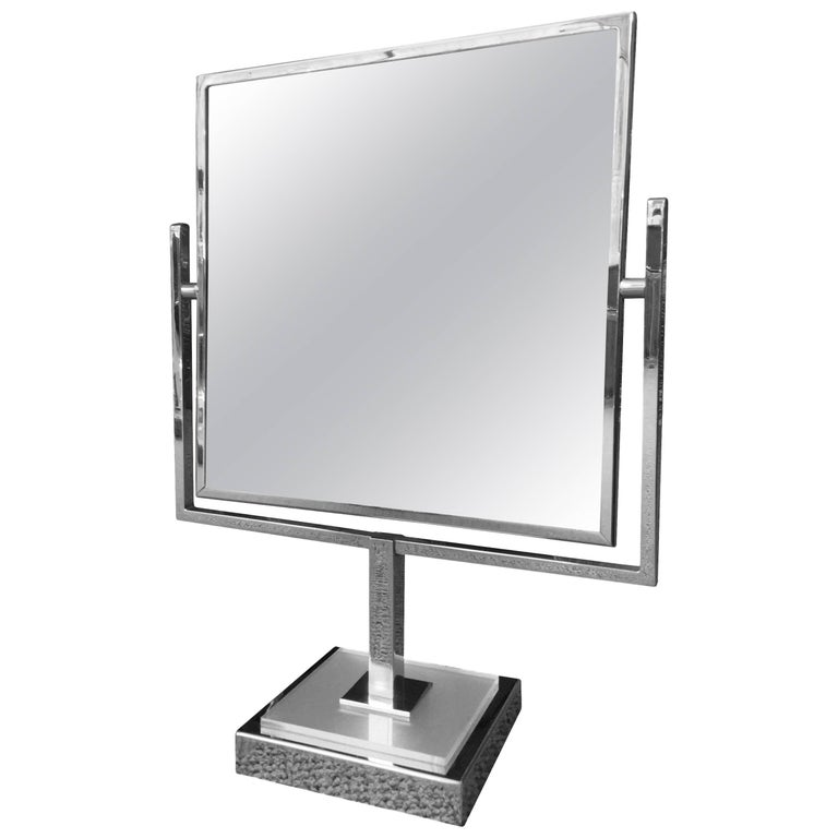 Charles Hollis Jones Vanity Mirror in Polished Chrome and Lucite