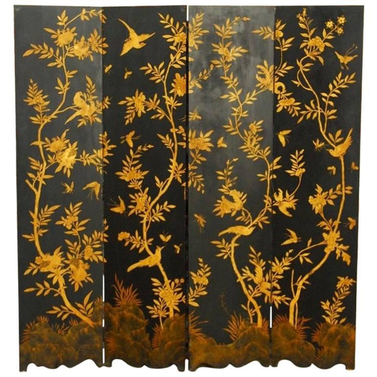 Chinese Black Lacquer Flora and Fauna Decorated Four-Panel Screen