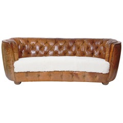1930s Danish Cabinetmaker's Sofa in Original Tufted Leather and Sheepskin