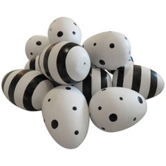 Black and White Decorated Geoffrey Beene Ceramic Eggs, 1980s