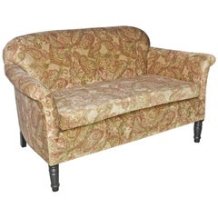 Napoleon III-Style Settee Covered in Paisley Velvet