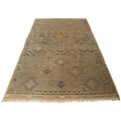 Turkish Flat-Weave Jajim Rug with Turquoise Border