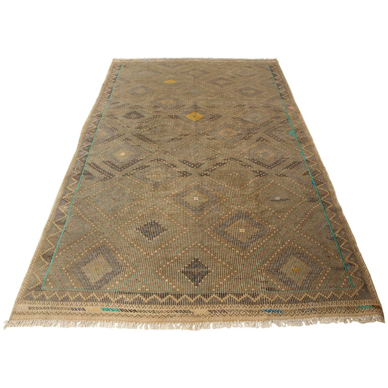 Turkish Flat-Weave Jajim Rug with Turquoise Border 1