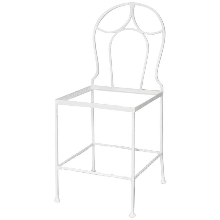 Antique French Iron Bistro Garden Chair For Sale