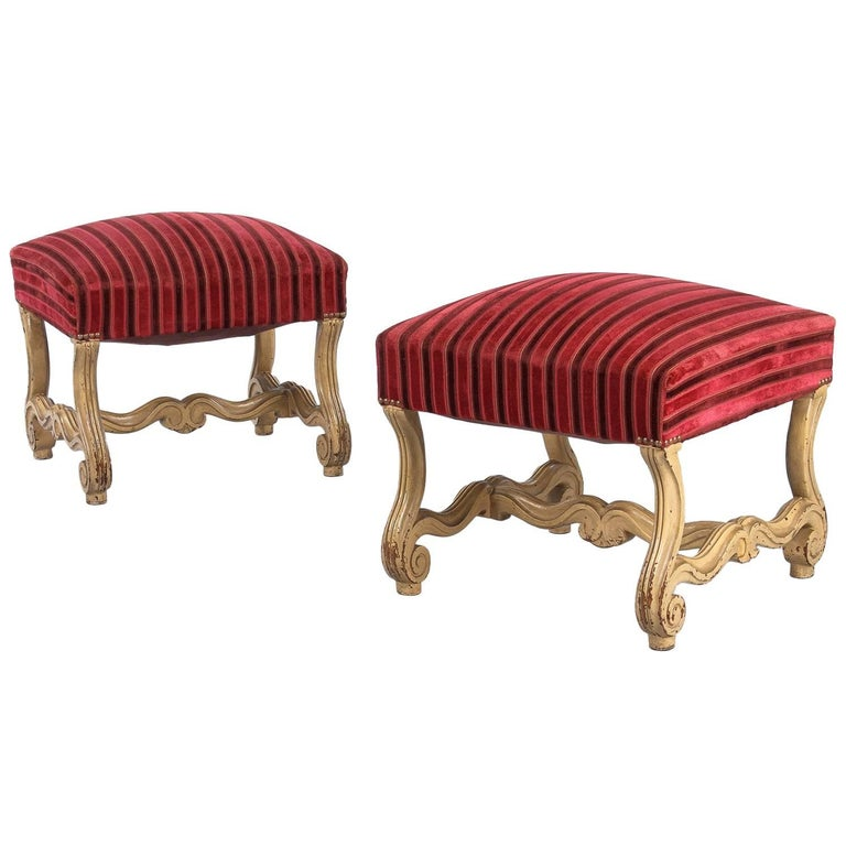 Pair of French Louis XIV Style Painted Ottomans, Early 1900s For Sale