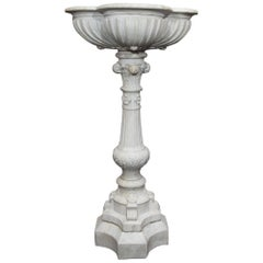 Antique Carved Carrara Marble Bird Bath