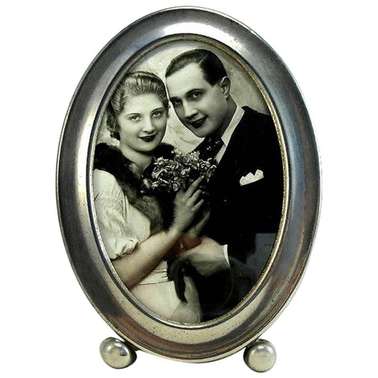 Art Deco Nickel-Plated Oval Picture Frame Made in England