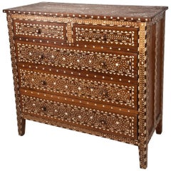 Exceptional Early 1900s, Chest of Drawers with Bone and Rosewood Inlay, India