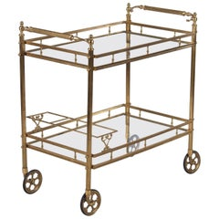 Maison Baguès Brass and Glass Bar Two-Tiered Cart, 1950s