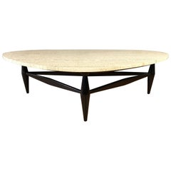 Biomorphic Travertine Coffee Table with Black Lacquered Base
