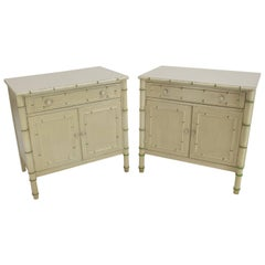 Pair of Faux Bamboo Decorated Bachelor Chests Large End Tables Nightstands