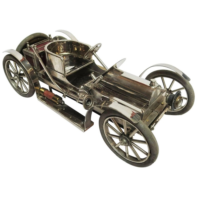 Detailed Automobile Handmade Folk Art, 1910, Car Model in Nickel Silver 1