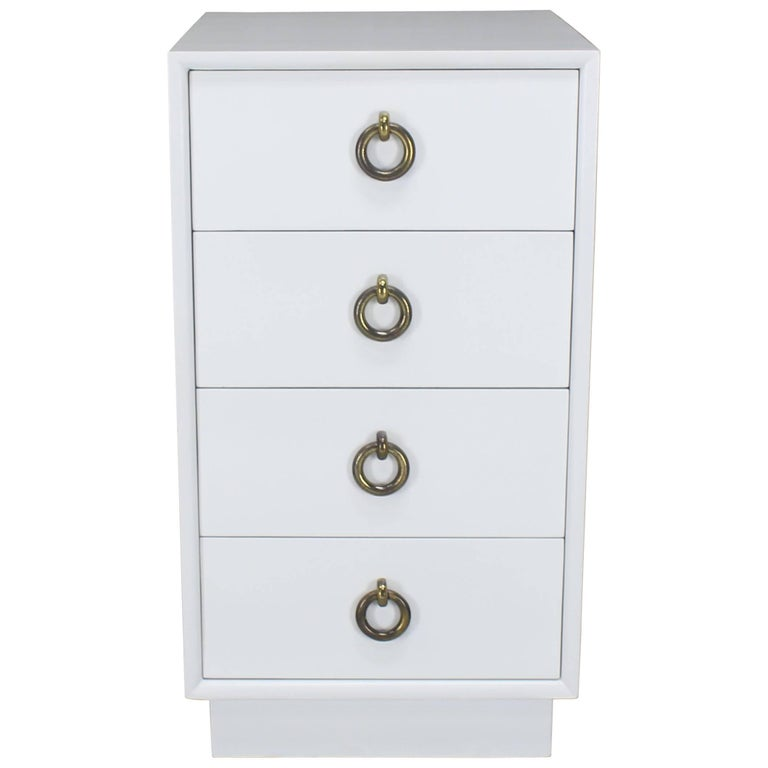 White Lacquer Mid-Century Modern Four-Drawer Cabinet Tall Nightstand End Table
