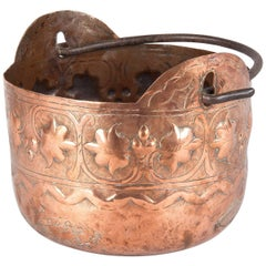 French Copper Cauldron with Forged Iron Handle, 19th Century