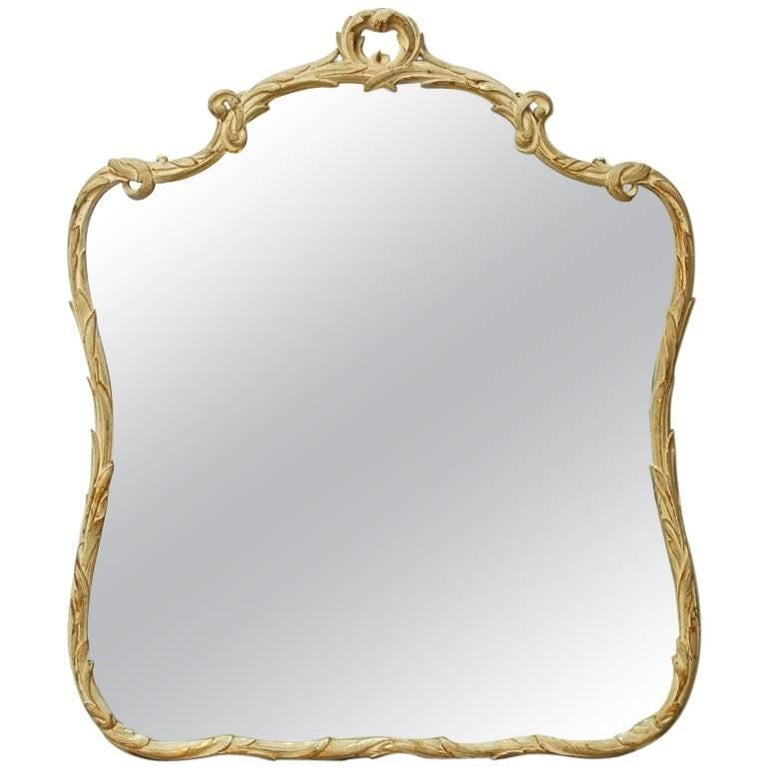 Italian Rococo Style Painted Giltwood Foliate Mirror