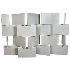 Eileen Gray Style Brick Screen, White Lacquer Room Divider