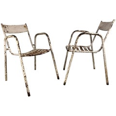 Pair of French Industrial Tolix Style Metal Garden Chairs, Stacking