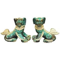 Pair of Chinese Glazed Porcelain Foo Dogs