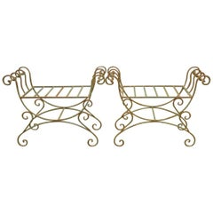 Pair of Hollywood Regency Wrought Iron Curule Benches